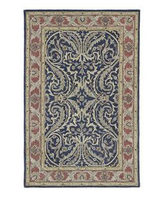 Look at this #zulilyfind! Blue Floral Swirl Wool Rug #zulilyfinds