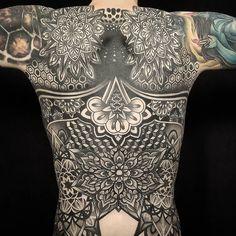 Backpiece Tattoo by @brandondavidtattooer at @inkanddaggertattoo in Roswell, Georgia. #backpiece #geometrictattoo #mandala #brandondavidtattooer #inkanddagger #inkanddaggertattoo #roswell #georgia...