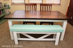 How to Build Your Own Farmhouse Table - get all the details from construction to painting, staining and finishing!