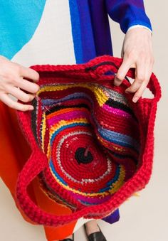 Daniela Gregis Wool Crochet Tote in Multicolor