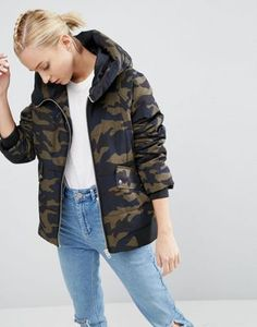ASOS Padded Jacket In Camo Print