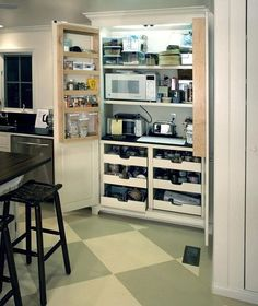Traditional Kitchen Pantry Design, Pictures, Remodel, Decor and Ideas - page 4 Kitchen Pantry Design, Kitchen Redo, Kitchen Organization, New Kitchen, Kitchen Storage, Kitchen Remodel, Kitchen Cabinets, Kitchen Appliances, Small Appliances