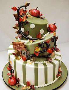 Autumn topsy turvy cake