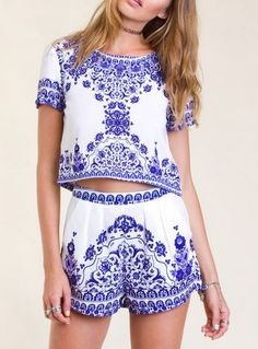 Spring / Summer - street chic style - boho chic style - beach style - blue and white floral print set (with crop top and high waist shorts)