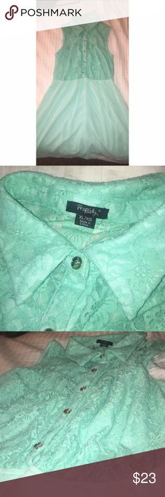 Dress -Only wore once, mint dress with lace, summer dress Dresses High Low
