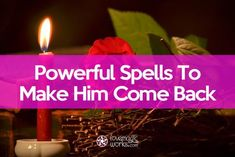 """Make your ex come back to you with these free """"bring back a lover"""" spells that you can cast on your own with easy to find ingredients. Use candles and chants to take advantage of the magic powers and bring him back quick. Free Magic Spells, Free Love Spells, Easy Spells, Powerful Love Spells, White Magic Love Spells, Hoodoo Spells, Magick Spells, Candle Spells, Candle Magic"""