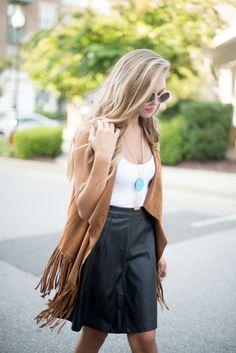 Brown suede fringe vest #swoonboutique