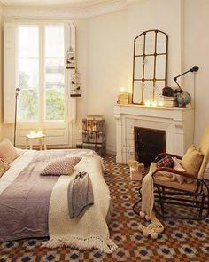 Arredo camera da letto con pavimenti vintage