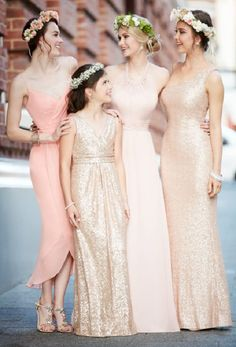 coral mismatched bridesmaid dresses / http://www.deerpearlflowers.com/mix-n-match-bridesmaid-dresses/