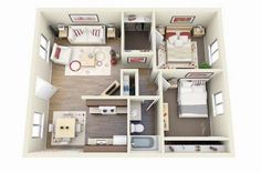 3D small house floor plans under 1000 sq ft smallhomelover.com 4