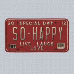 "Vintage License Plate ""So Happy"" Web Element, Digital Scrap book embellishment"