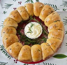 Brown butter & rosemary dinner rolls dressed up for Christmas. - can use Nanny's roll recipe and follow their directions for dressing it up