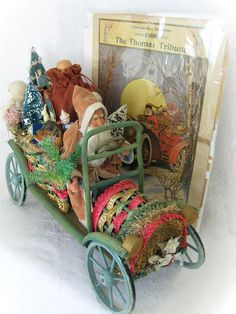 Fabulous Vintage Father Christmas Santa in Colorful Wicker Car Rare German German Christmas, Christmas Past, Victorian Christmas, Christmas Wood, Father Christmas, Christmas Items, Christmas Images, Christmas Wishes, All Things Christmas