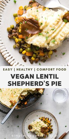 The Best Vegan Shepherd's Pie recipe features protein rich lentils with a medley of vegetables in a rich gravy, topped with classic mashed potatoes and baked to perfection! #healthyrecipes #veganrecipes #plantbased Low Fat Vegan Recipes, Raw Food Recipes, Vegetarian Recipes, Vegetarian Diets, Healthy Recipes, Vegan Meals, Clean Eating Vegetarian, Clean Eating Recipes, Eating Vegan