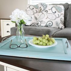 DIY Serving Tray from an old cabinet door. Featuring our Yvette Sofa and Whitesburg coffee table. @createcraftluv