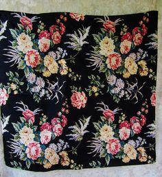 ECHO CLUB 7 Scarve Scarf Vintage Black Floral 100% Silk 35 x 35 #Echo #Scarf #Any