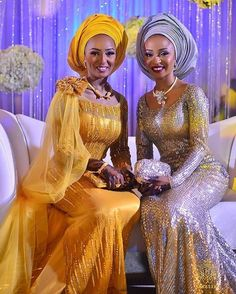 Nigerian bride and her sister at her wedding Nigerian Wedding Dress, African Wedding Attire, Nigerian Bride, Nigerian Weddings, Pakistani Wedding Dresses, Wedding Hijab, African Weddings, African Wear, African Attire