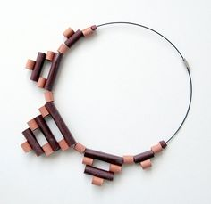eco-necklace with recycled cardstock beads red bordot & orange