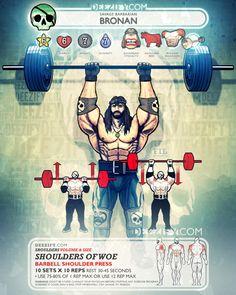 shoulder exercise: barbell shoulder press bronan