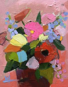 Zinnias no. 10 Original Floral Still Life Oil Painting by Angela Moulton 8 x 10…