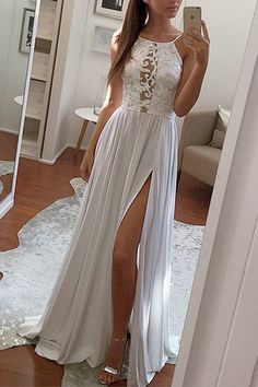 Simple lace top gray chiffon prom dress, halter prom dress, long prom dress with slit