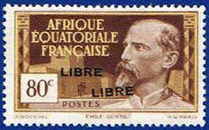 French Equatorial Africa #105a Stamp  Emile Gentil Stamp Overprinted