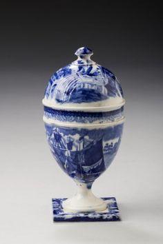"♥ ~ ♥ Blue and White ♥ ~ ♥ Rare Wedgwood dark blue transfer-printed ""Ferrara"" pattern egg cup and cover. Blue Dishes, White Dishes, Blue And White China, Blue China, Dark Blue, Vintage Egg Cups, White Porcelain, Painted Porcelain, Porcelain Tiles"