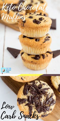 Keto Muffins are a great little snack when you're on the road, or trying to have a healthy little dessert bite that kills those sugar cravings. Because everyone loved the keto chocolate chip cookies so much, I thought these would be a great variation to try. These keto chocolate chip muffins are much easier than the cookies and bake much easier as well. via @fatforweightlos