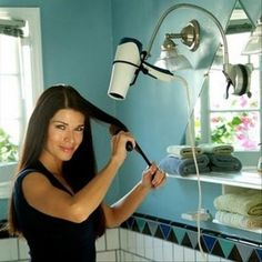 blow dryer holder, smart ideas. Smart? naw, FREAKING GENIUS!! SO DOING THIS!!!