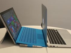 The Surface Pro 3 and MacBook Air are built for similar purposes, and here's a look at how they compare. Cool Technology, Computer Technology, Mobile Technology, Microsoft Surface, Ms Surface Pro, Macbook Air 2014, Free Iphone Giveaway, Best Gaming Laptop, Apple Products