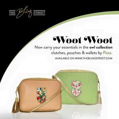 Fizza Design Studio's #owl collection of clutches, pouches and wallets in pretty pastel shades available now on theblingstreet.com — with Fizza Design Studio.