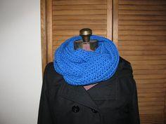 Royal Blue warm winter crochet infinity, cowl scarf on Etsy, $25.00
