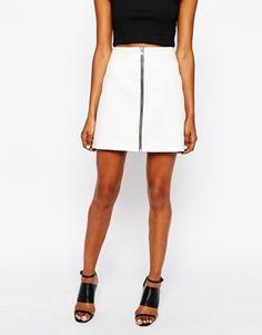Enlarge River Island Textured Zip Front Skirt