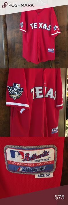 Texas Rangers World Series Jersey Authentic  Majestic Josh Hamilton #32 Texas Rangers World Series Baseball Jersey.  Size 52 (XXL).  In Excellent Condition! Majestic Shirts
