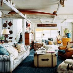 beach shack style ralph lauren, striped sofa, wooden beams, nautical, eclectic style
