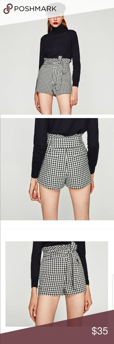 d328bc94 Zara High Waisted Black & White Plaid Shorts Sz-XS New with tags from ZARA