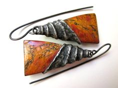 An Empire for Two - primitive natural red orange picasso jasper stone triangle & spiral soldered black metal industrial bead cap earrings by LoveRoot