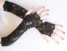 Black Fingerless Lace Gloves: Opera Gloves,  Goth Lace Gloves,  Victorian, Dark  Alice, Steampunk, Lolita, Elbow Length,