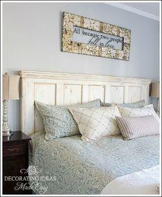old door new headboard, bedroom ideas, home decor, painted furniture, repurposing upcycling