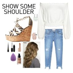 """""""Show Some Shoulder"""" by ambyclark on Polyvore featuring Bamboo, MANGO, Estée Lauder, Marc Jacobs, Christian Louboutin, MAKE UP FOR EVER and Nails Inc."""