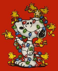 Snoopy & Woodstock Christmas - peanuts gang ready for Christmas! Peanuts Christmas, Charlie Brown Christmas, Winter Christmas, Christmas Lights, Christmas Time, Holiday Fun, Merry Christmas, Holiday Pics, Christmas Blessings