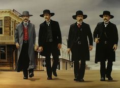 The walk to the gunfight. Doc Holliday and the Earp brothers head down Fremont Street. Wyatt Earp Tombstone, Tombstone Movie, Tombstone Arizona, Earp Brothers, Old West Photos, Doc Holliday, Cowboys And Indians, Southwest Art, Mountain Man