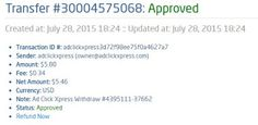 Here is my Withdrawal Proof from AdClickXpress. I get paid daily and I can withdraw daily. Online income is possible with ACX, who is definitely paying - no scam here. Thank You ACX!!!! http://www.adclickxpress.com/?r=kmn5zbhycc94&p=a AdClickXpress.Official