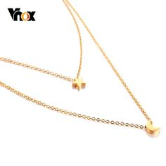 Star Moon Charm Layered Choker For Women Gold Color Stainless Steel Doule Layer Necklace Elegant Party Jewelry Gold Circle Necklace, Coin Pendant Necklace, Shell Pendant, Layer Necklace, Jewelry Party, Cute Jewelry, Body Jewelry, Men's Jewelry, Fashion Jewelry