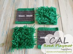 Happy Berry Crochet: CAL Crochet Road Play Mat - Tutorial Long Grass and Straight Road squares Crochet Car, Learn To Crochet, Easy Crochet, Crochet Toys, Free Crochet, Tutorial Crochet, Crochet Designs, Crochet Patterns, Crochet Stitches
