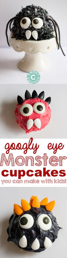 These fun googly eye monster cupcakes from SweetCsDesigns.com are so much fun to make with kids! #DIY4Halloween Check out more #DIY Halloween ideas at http://share.joann.com