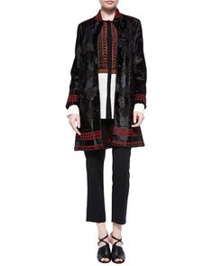 Laser-Cut Lamb Fur Coat, Silk Beaded-Bib Blouse & Skinny-Fit Cropped Pants by Etro at Bergdorf Goodman.