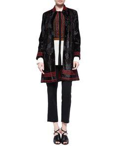 Laser-Cut Lamb Fur Coat, Silk Beaded-Bib Blouse & Skinny-Fit Cropped Pants by Etro at Bergdorf Goodman.