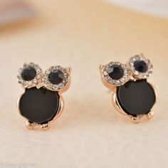 JP Fashion Sweet Ziron Black Gold Plating Owl Stud Earrings Crystal Earring