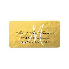 Elegant Gold Black Monogram Wedding Personalized Address Label